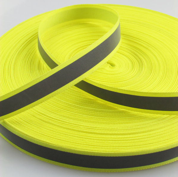 Customized polyester webbing with reflective stripe