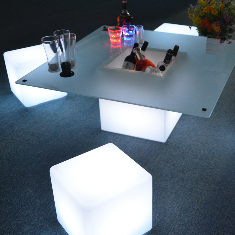 73cm Outdoor Plastic Waterproof Glowing Lighting Rechargeable Battery Led Cube Chair
