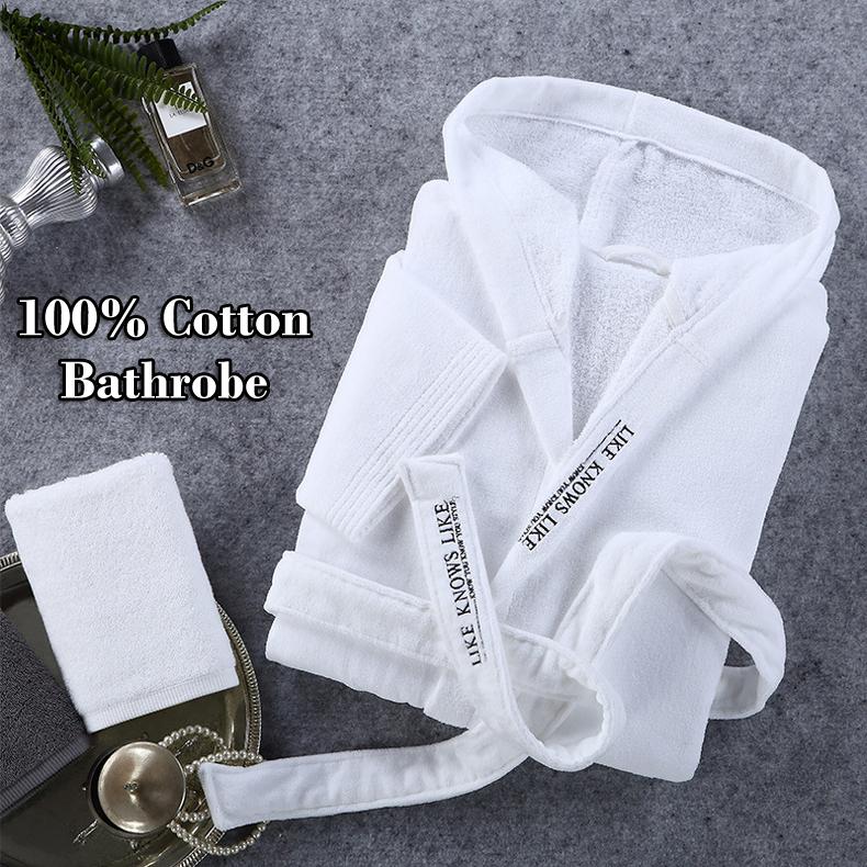 hooded cotton bathrobe for hotel