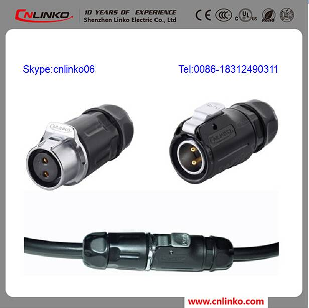 Waterproof Power Cable Ip67 2 Pin Waterproof Connector