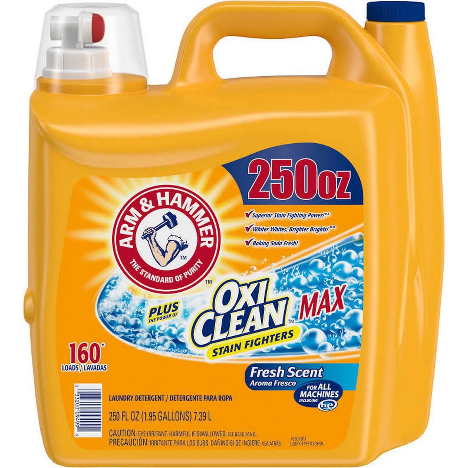 Arm & Hammer Plus OxiClean Max Liquid Laundry Detergent 250 fl oz, 160 Loads