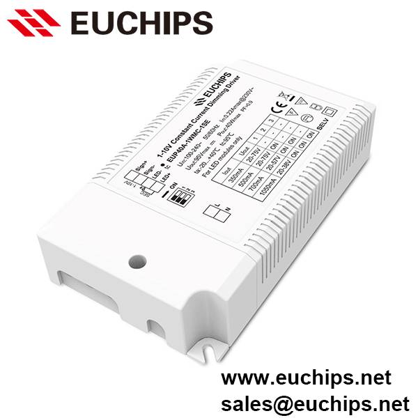 350/500/700/1050mA 1 channel 40W 1-10V Constant Current LED Dimmable Driver EUP40A-1WMC-1SE
