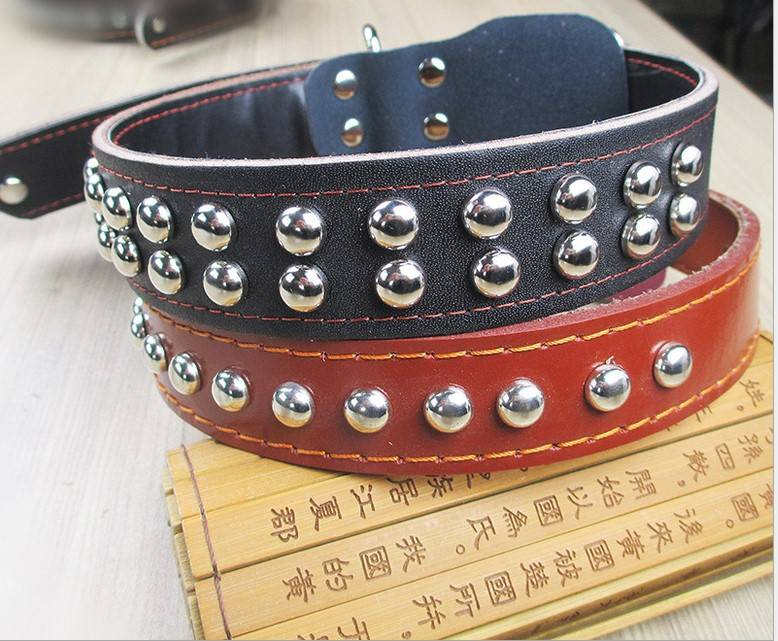 Studded Leather Pet Dog Collar Leash Lead Set Unisex Pitbull Bully Husky