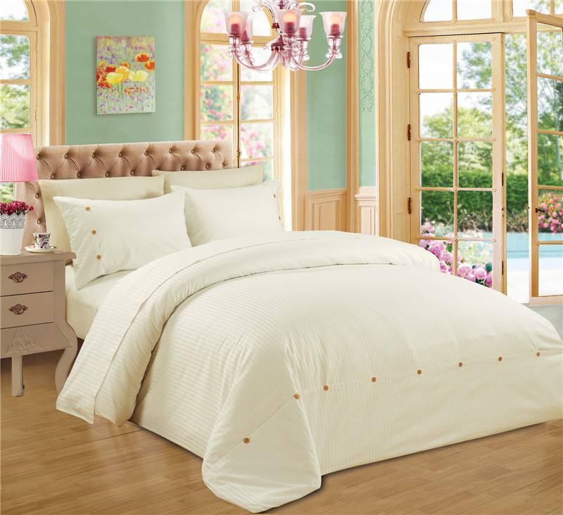 Sateen Stripe Polycotton Duvet Cover Set Bedding Set