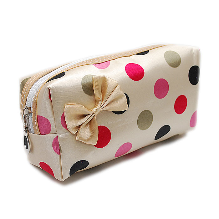 Dotted faille cosmetic bag with single zipper fxsdl02