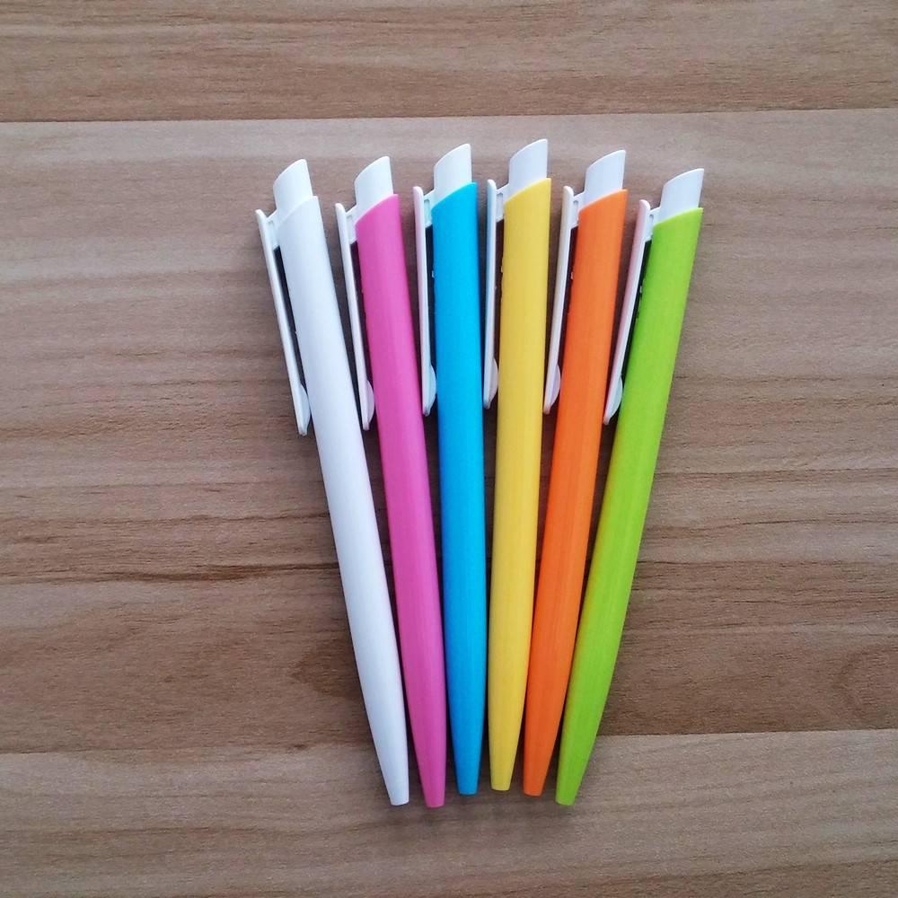cheaper click ball pen with plastic colored barrel and clip
