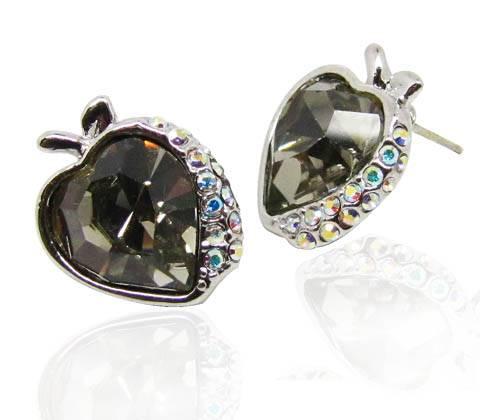 Wholesale Sweet honey honey style Snow white series apple shape earrings with Greige Swarovski eleme