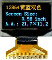 "0.96"" 128x64 Mono Yellow&Blue OLED Display with internal DC-DC Converter & 30 Pins (PG-2864HMBEG01)"