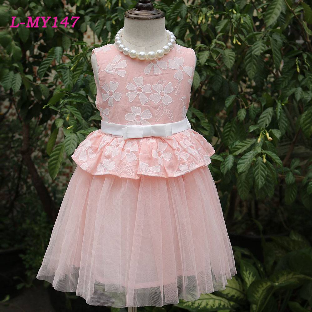 Cotton pink embroidered girls wedding dress bridal kids wear girls dress names with pictures maxi dr