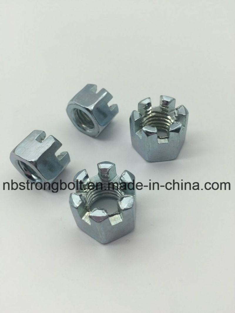 DIN935 Hexagon Slotted Nut with White Zinc Plated Cr3+