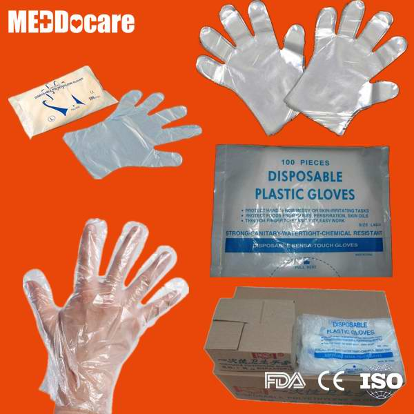 Transparent Clear Smooth Embossed Plastic Disposable CPE HDPE LDPE PE Gloves