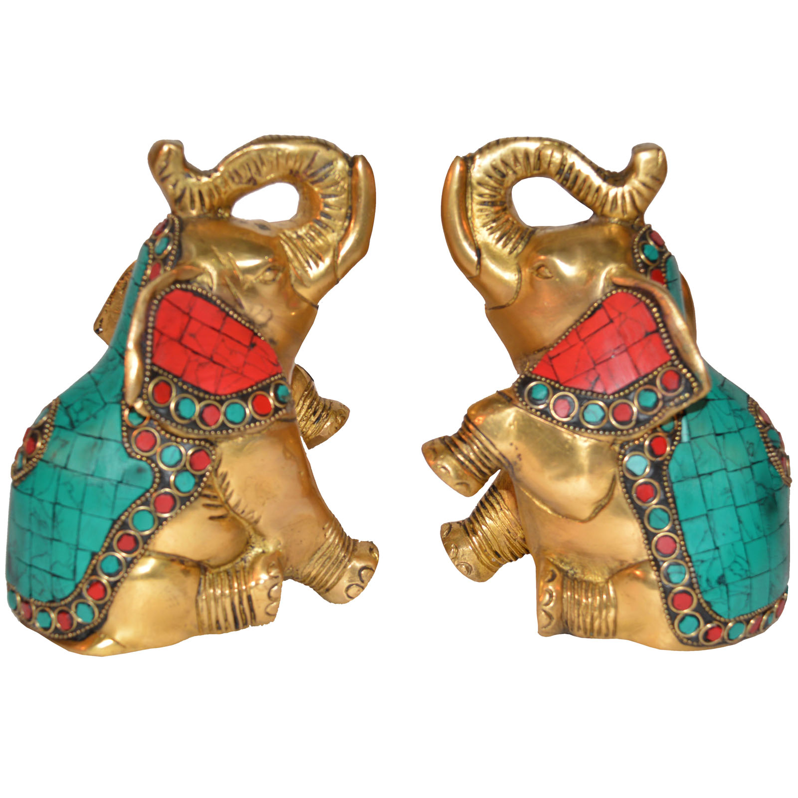 Customized Sculpture Brass Metal made Elephant Statue Pair Turquoise work by Aakrati