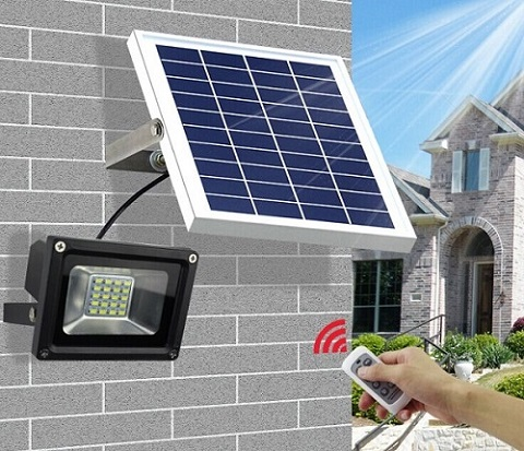 Solar LED Flood Garden Light with Remote Controller