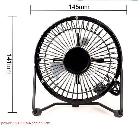 4 inch Black Mini USB Rechargeable Cooling Fan