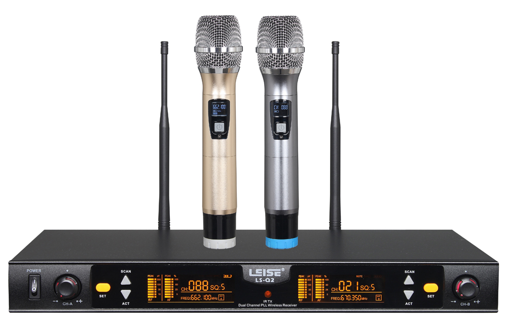 Ls-Q2 Double Channel UHF Digital Wireless Microphone