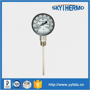 without oil filled fever temperature industrial bimetal metallic thermometer long probe
