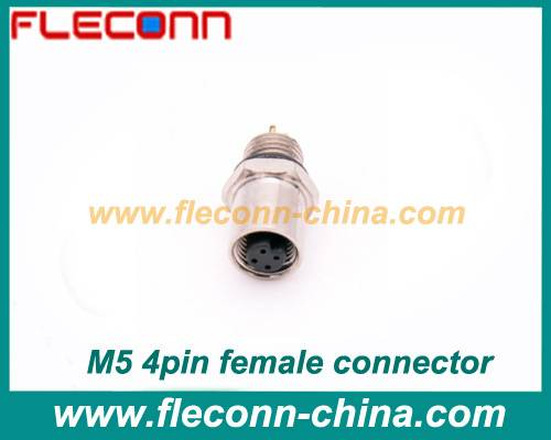 M5 4pin female panel mount connector Front Mounting