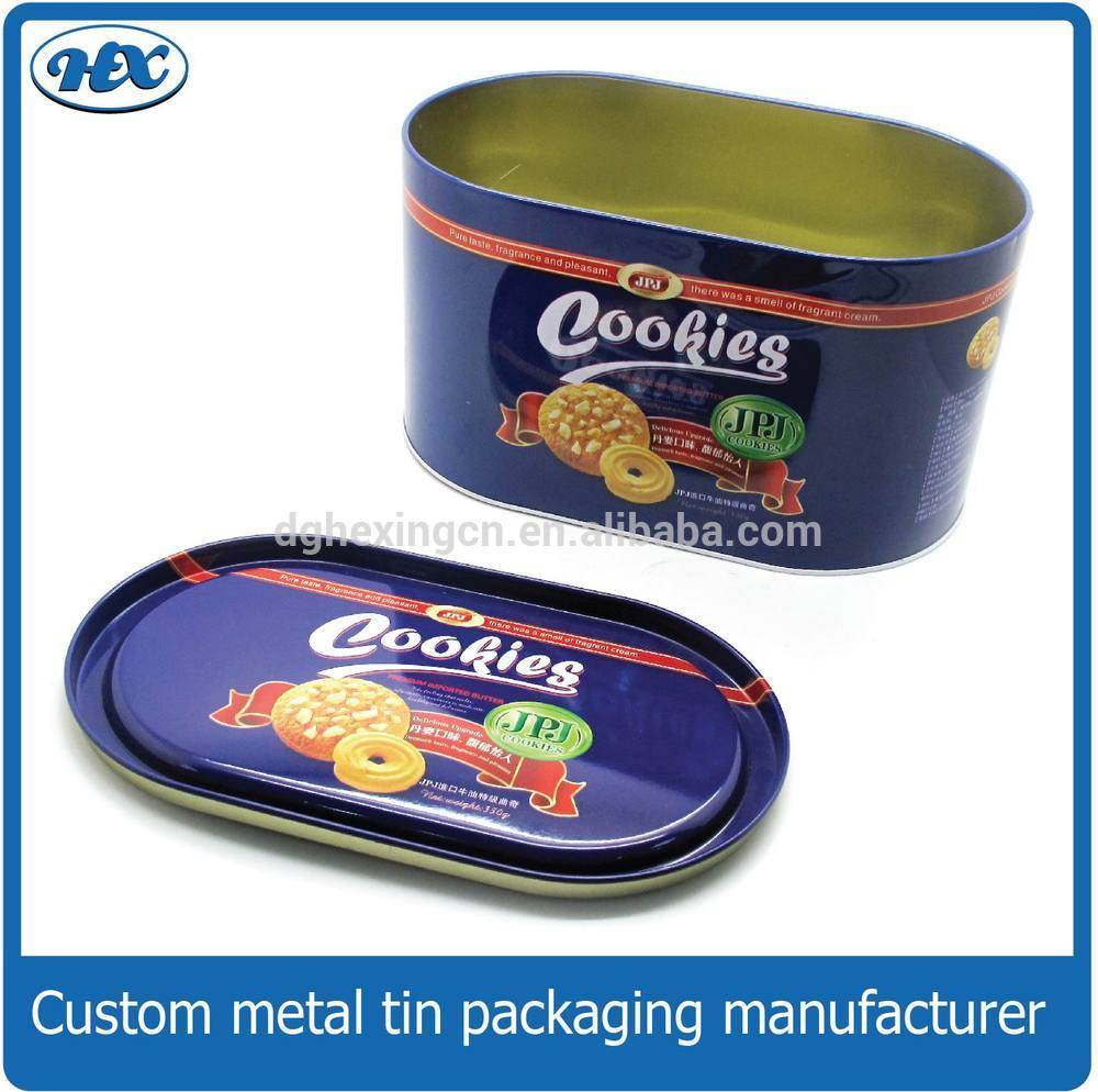 Oval shape candy tin box/food tin packaging