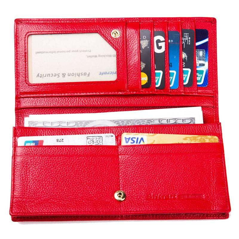 Newest design luxury style wholesale Genuine Leather shielding lady women wallet rfid