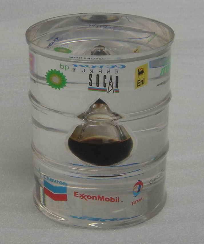 Acrylic barrel with oil drop inside