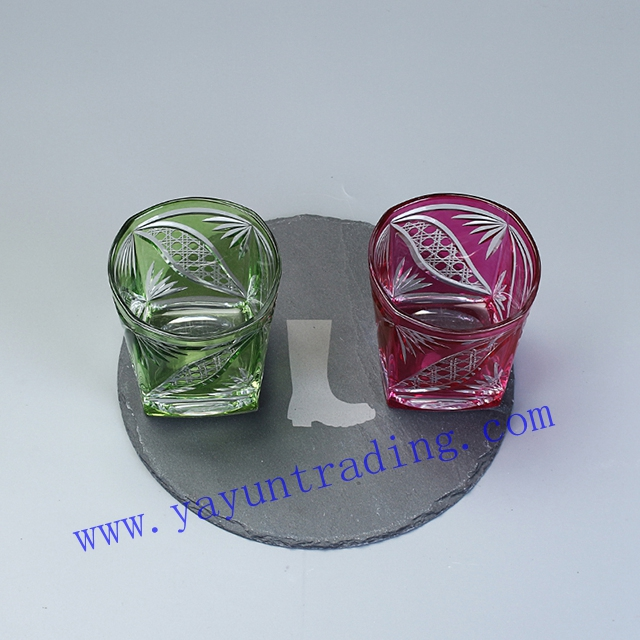 hand etched overlay 210ml square wine glass tumbler