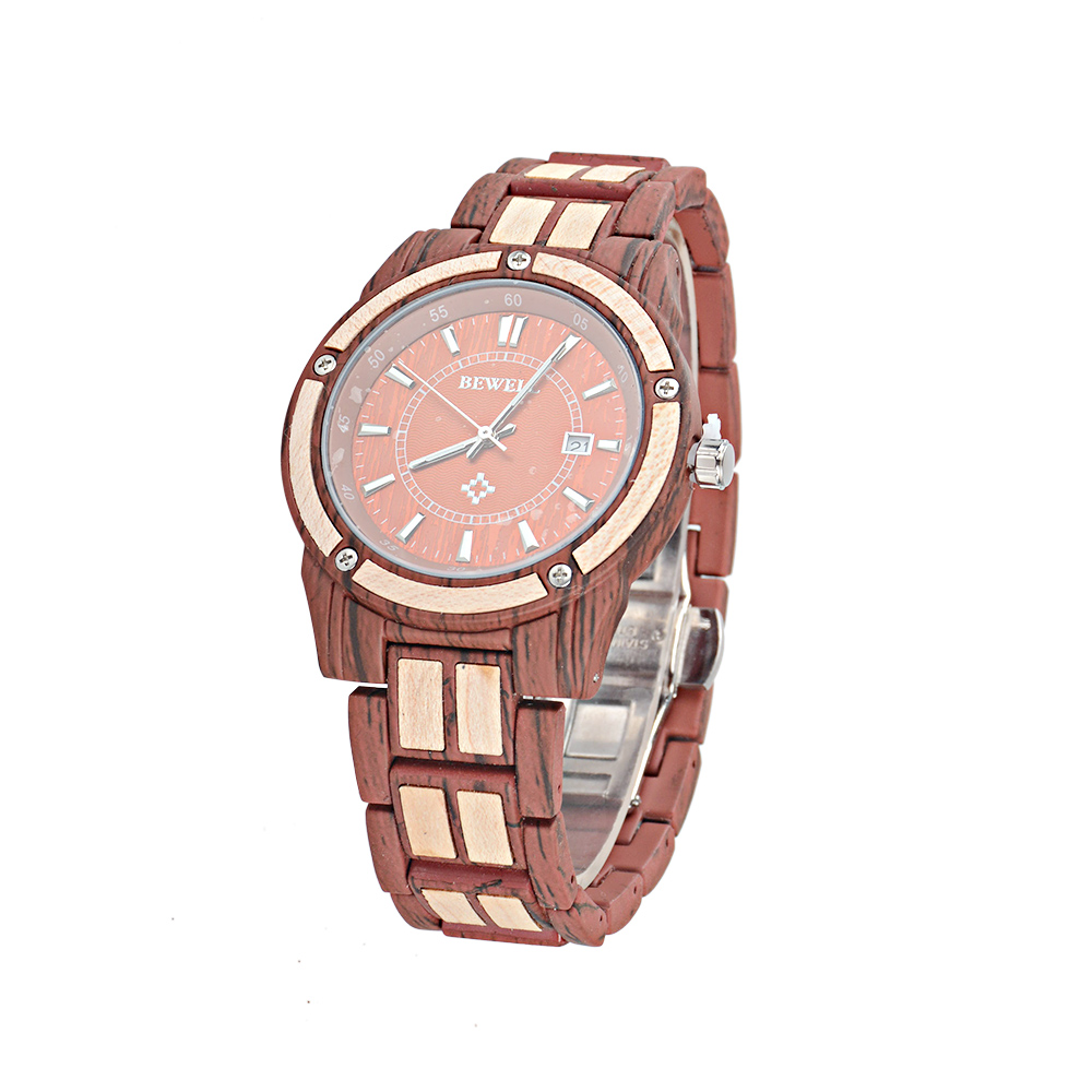 Custom logo hand crafted wood and metal japan movt 3 atm water resistant bewell wooden watch