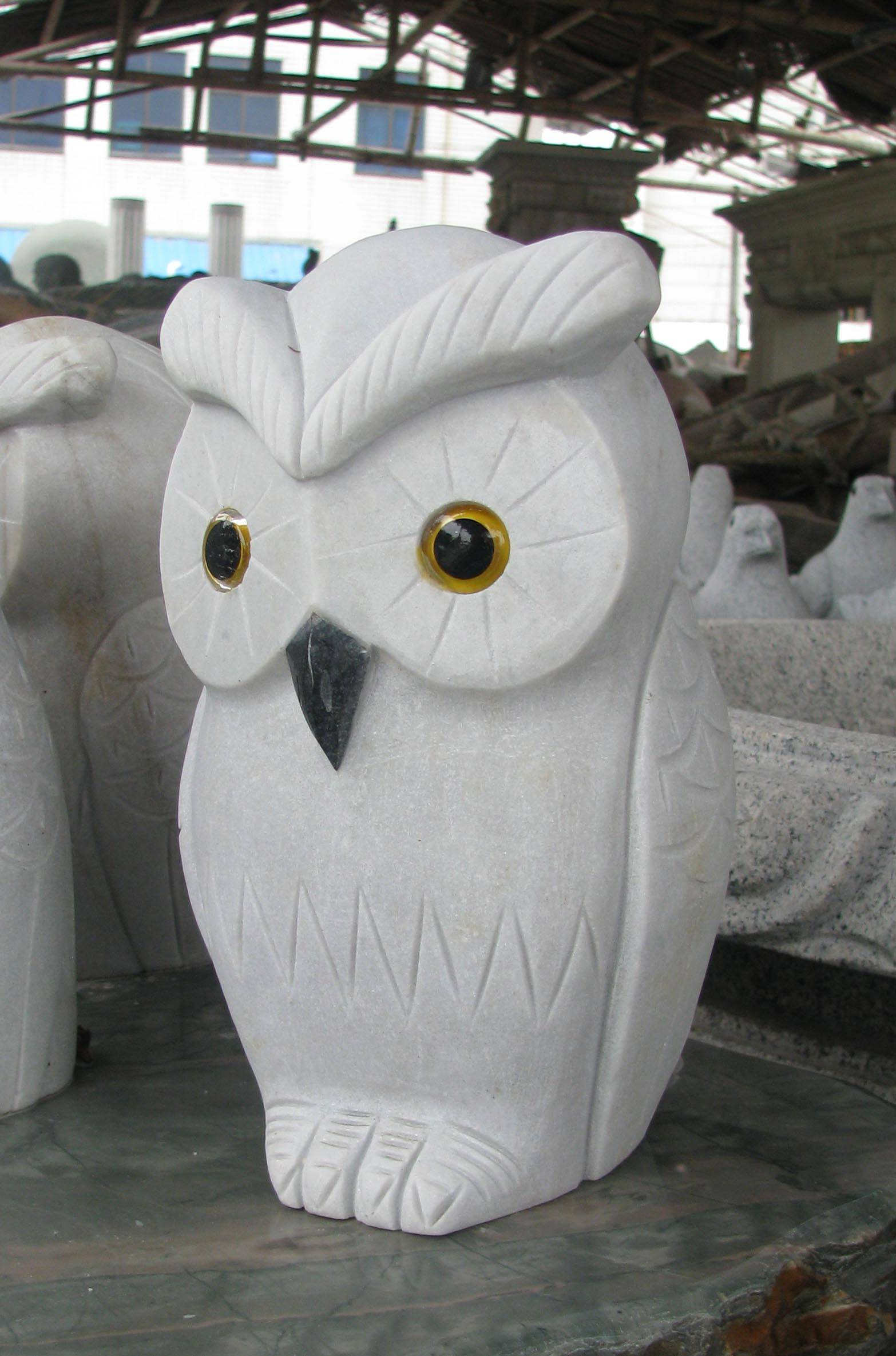 Padang granite stone owl sculpture