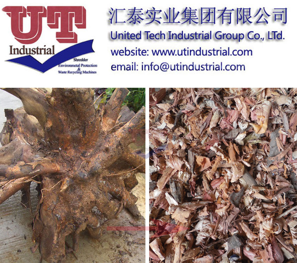 wood single shaft shredder, tree root grinder, wood chipper, one rotor shredder