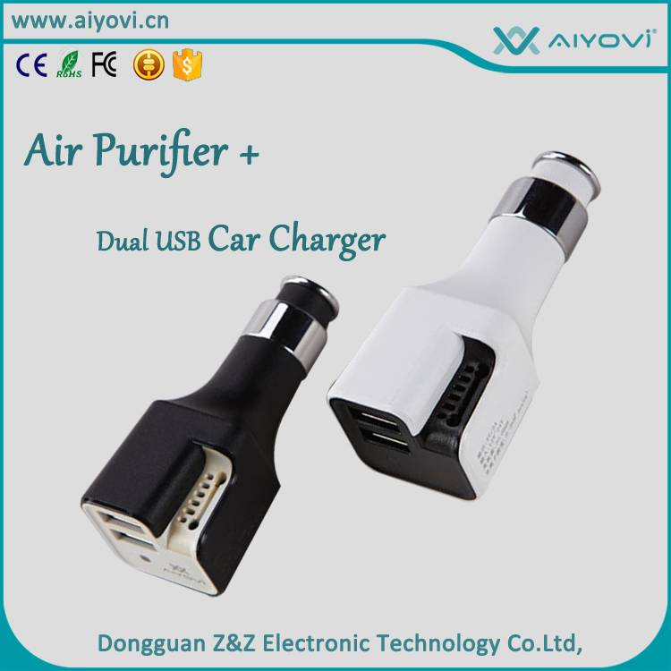 Dual USB car charger with  Air purifier function
