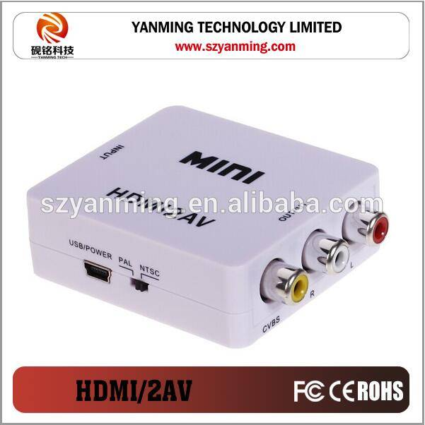 high resolution 1080P hdmi to av 3 RCA converter for computer DVD to HDTV