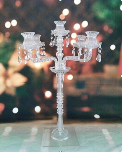 5 heads tall all crystal candle holder for wedding tabel decoration