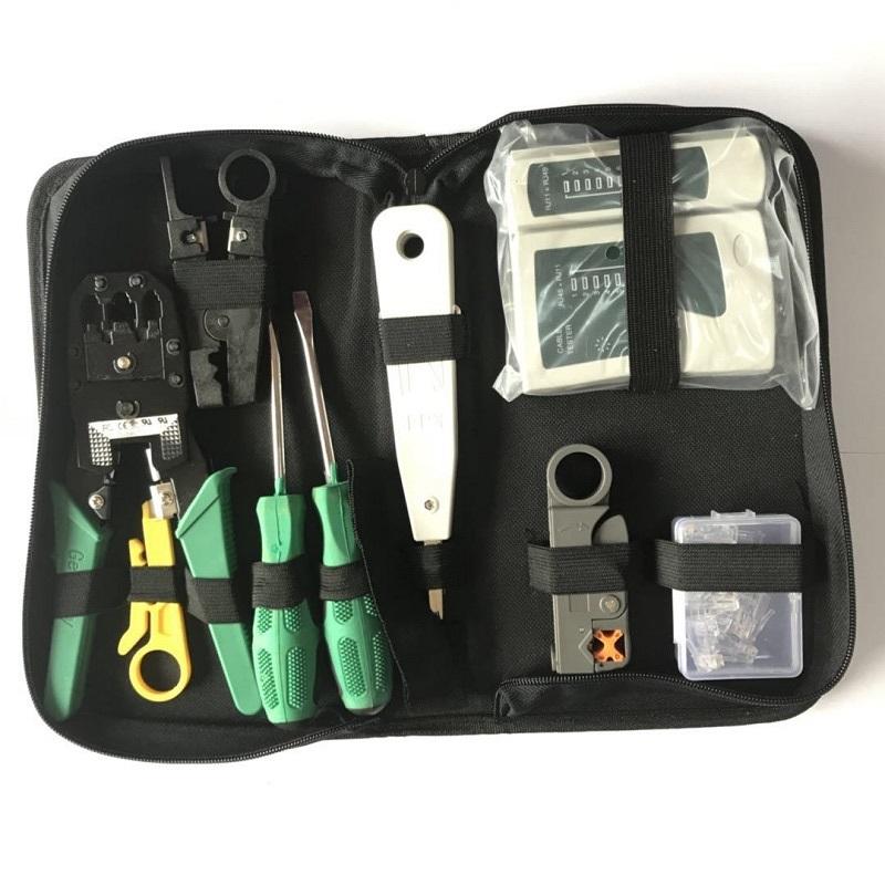 RJ45 RJ11 Crimper Lan Network Ethernet Cabling Hand Tools Kit Crimp Cable Tester
