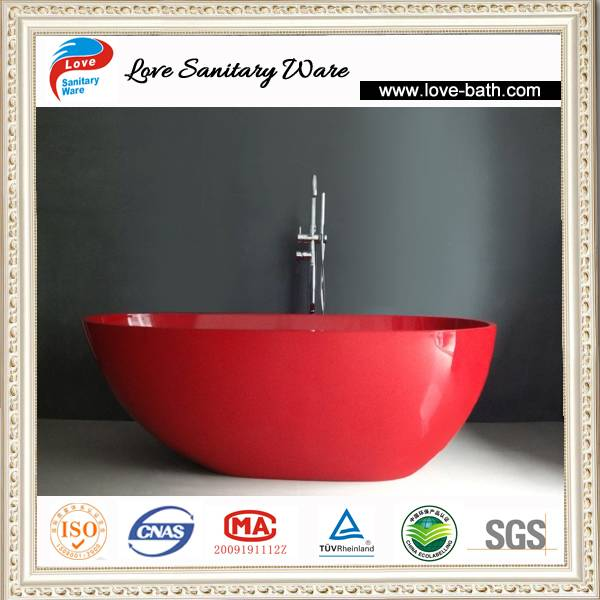 New Design Italian natural stone bathtub with modern red colored
