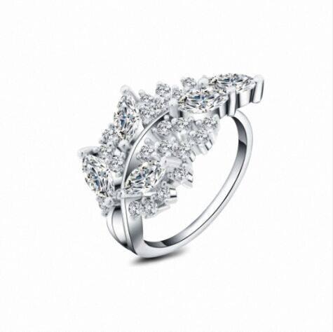 Modern elegant leaf shape plated finger ring,China supplier