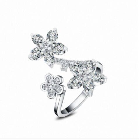 Lastest fashion birthday gift silver jewelry,flower design three crystal ring