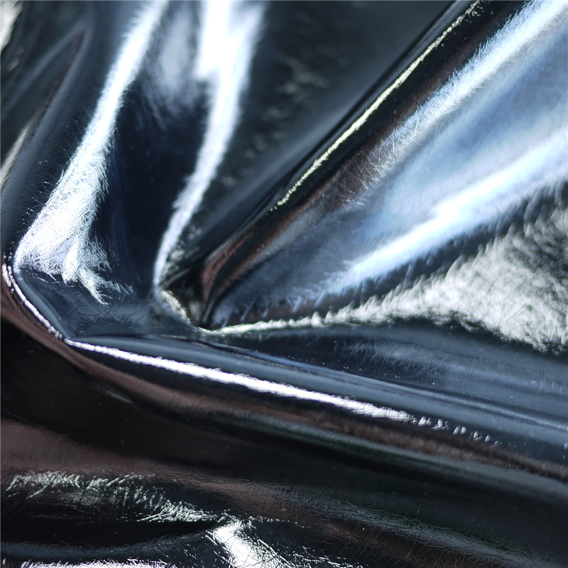 Mirror Surface Glitter Crumpled PU Artificial Polyester Fabric Leather