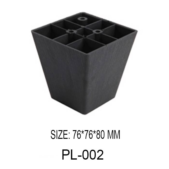 80mm high black decorative furniture leg injection plastic square shape sofa leg