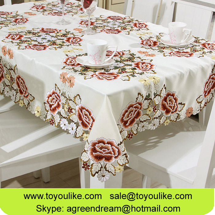 Toyoulike Handmade Cutwork Embroidered Polyester Dining Tablecloth Set Table Runner