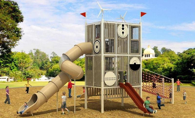 Commercial Slide Tunnel Wpc Cyber Series Outdoor Playground Equipment WD-MF102