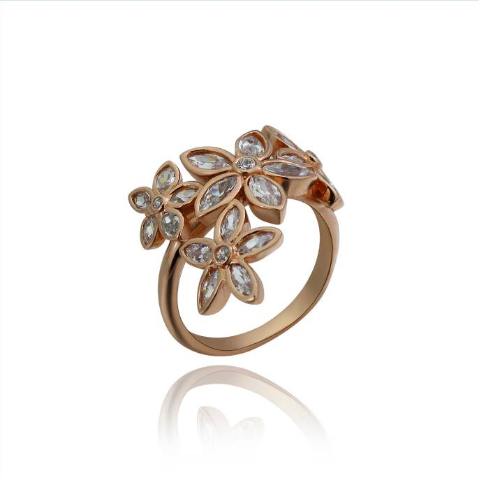Rose Gold Plated Sterling Silver Floral Ring
