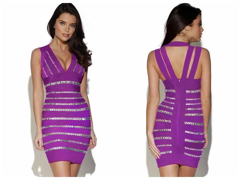 Crystals Embellished Purple Bandage Dress