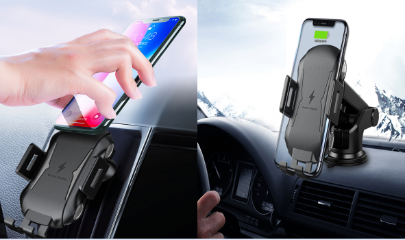 Automatic car phone holder wireless charging