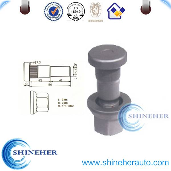 Grade 10.9 wheel stud for Volvo with nut