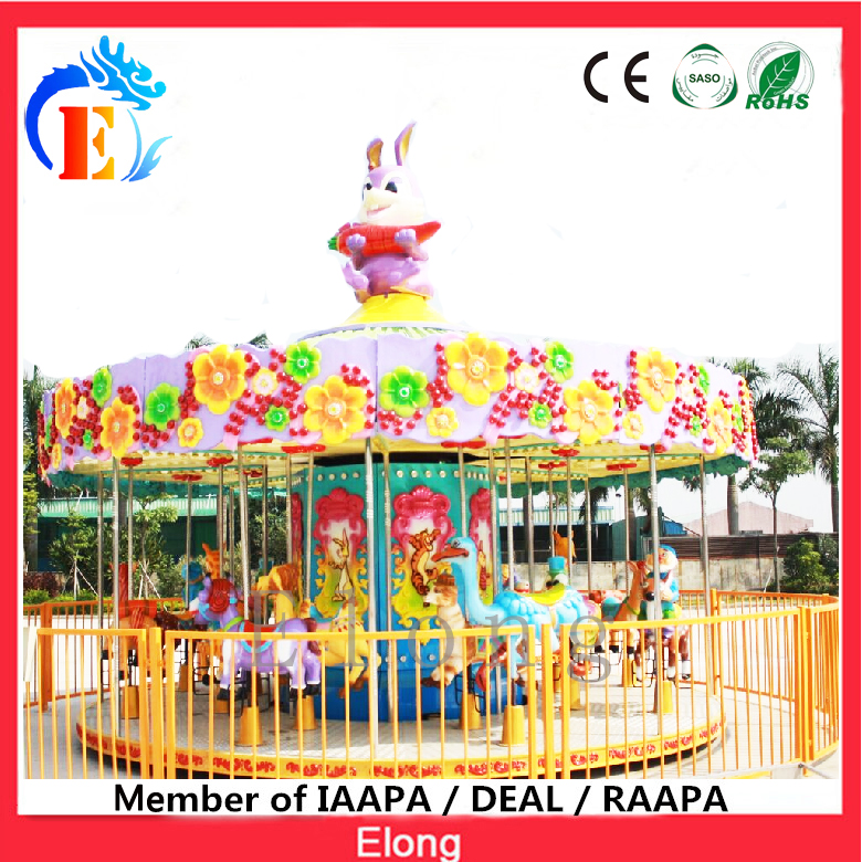 China Elong high quality horse carousel theme park merry go round 16 seats carousel outdoor
