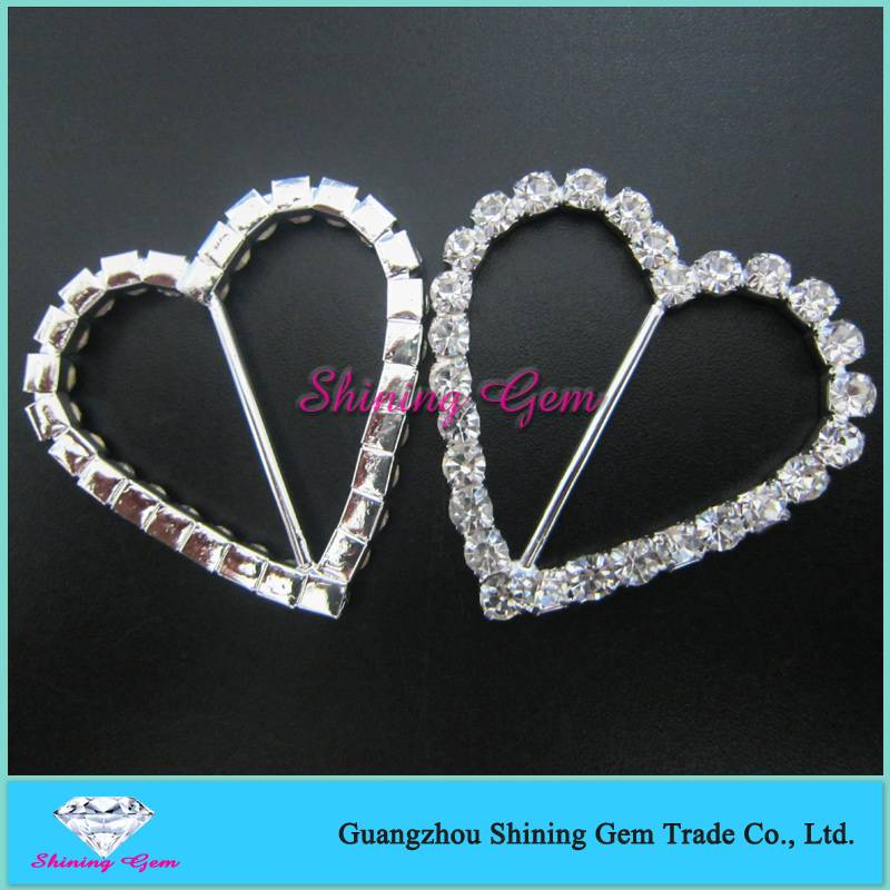 HEART DIAMANTE 40MM BUCKLES RIBBON SLIDERS