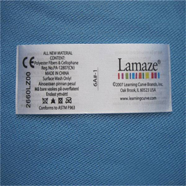 custom satin printed washing care labels