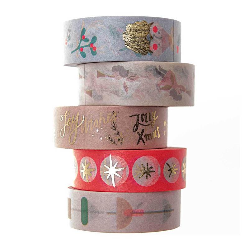 Customized holiday patterns adhesive sticky masking tape washi paper tape brand