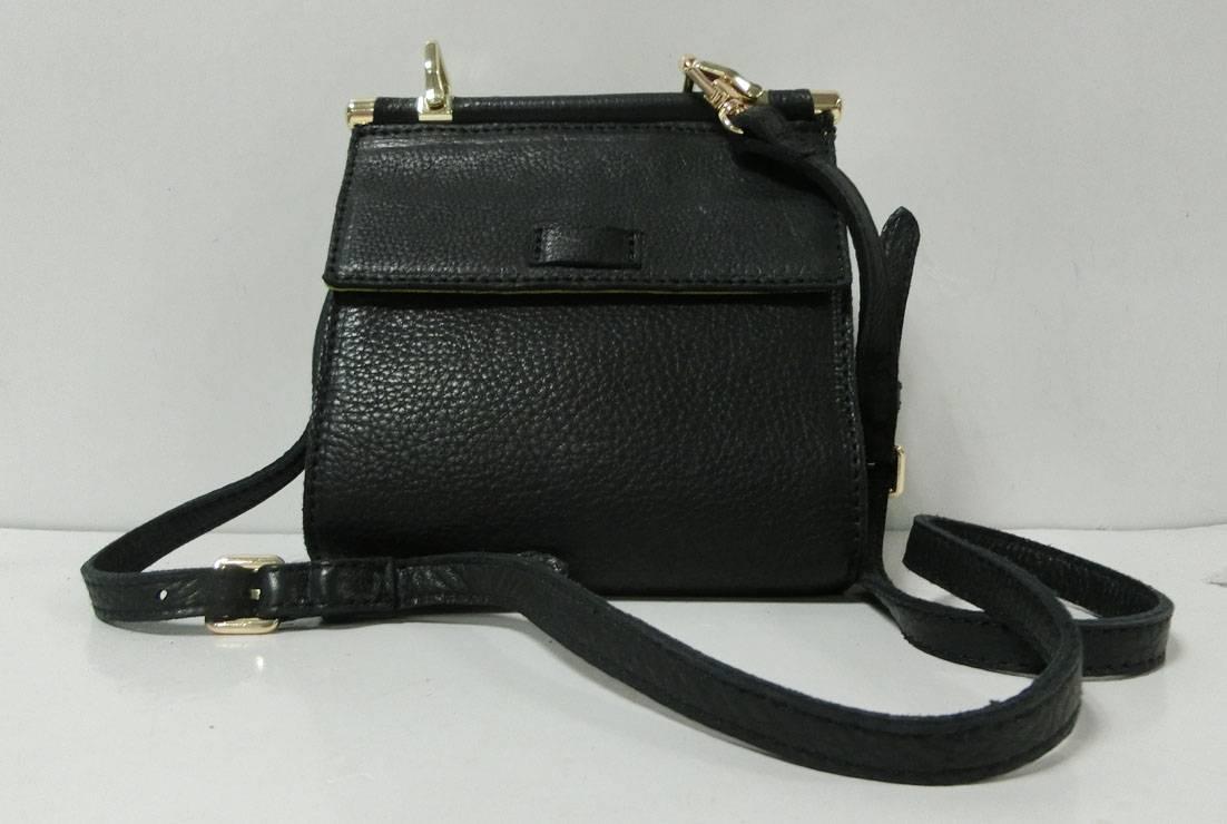 Litchi grain leather shoulder bag preppy style