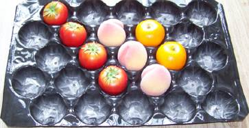 39*59cm Black Color Peach/Tomato/Apple Packing Disposable Plastic Packaging Tray