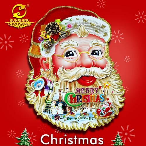 3D Paper Craft Santa Face Handmade Christnas Wall Sticker